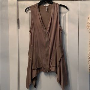 Brown long waisted vest sweater